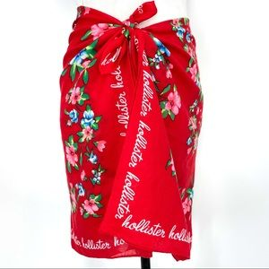 Hollister oversized wrap sarong scarf tapestry red